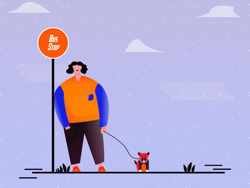 Waiting for bus indianillustrator ui illustrat minimal vector illustration challenge illustration illustrate illustrator graphic design flat design branding art