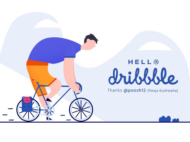 Hello Dribbble men cycle illustration challenge indianillustrator minimal illustration illustrator dribbble nmwdesigns designthursday graphic design design