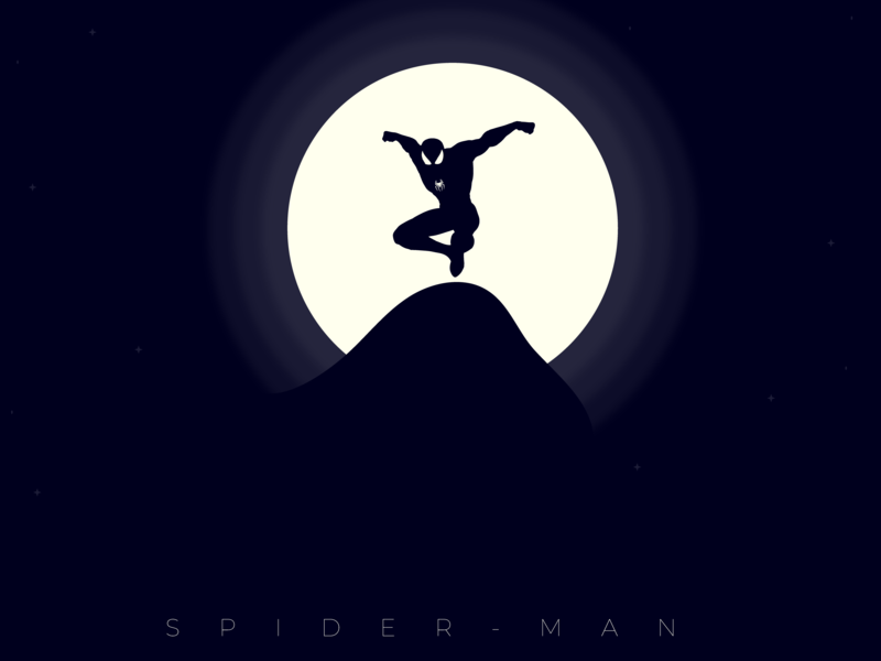 Spider-Man Far From Home marvels sony pictures vector ui branding graphic design mountain moon spider illustration night flat art illustrator minimal spiderman designthursday nmwdesigns design