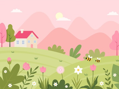 Spring Landscape Illustration pastel color palette graphic design tulip daffodils vector flat blossom blooming bloom scenery scene mountains bee flower tree house illustration landscape spring