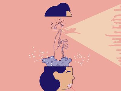 Mind of an Aquarius pastel color women in illustration woman illustration vectorart vector illustration line art colour palette zodiac sign conceptual illustration concept art concept illustration