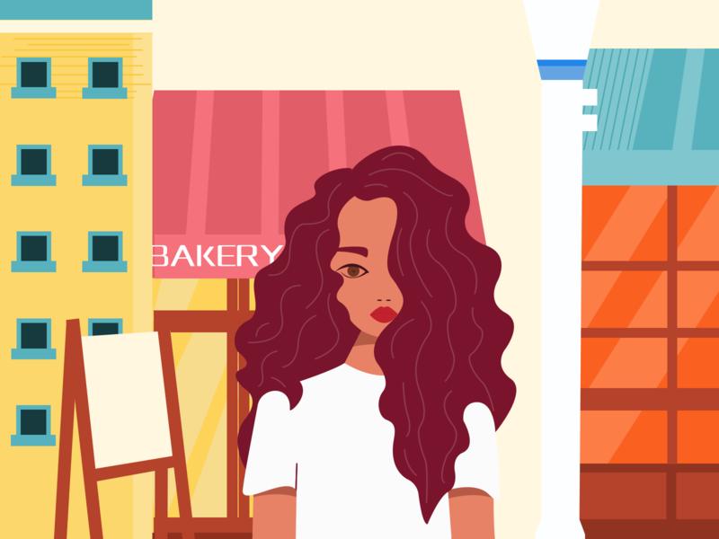 Illustration store hair characer street girl illustration