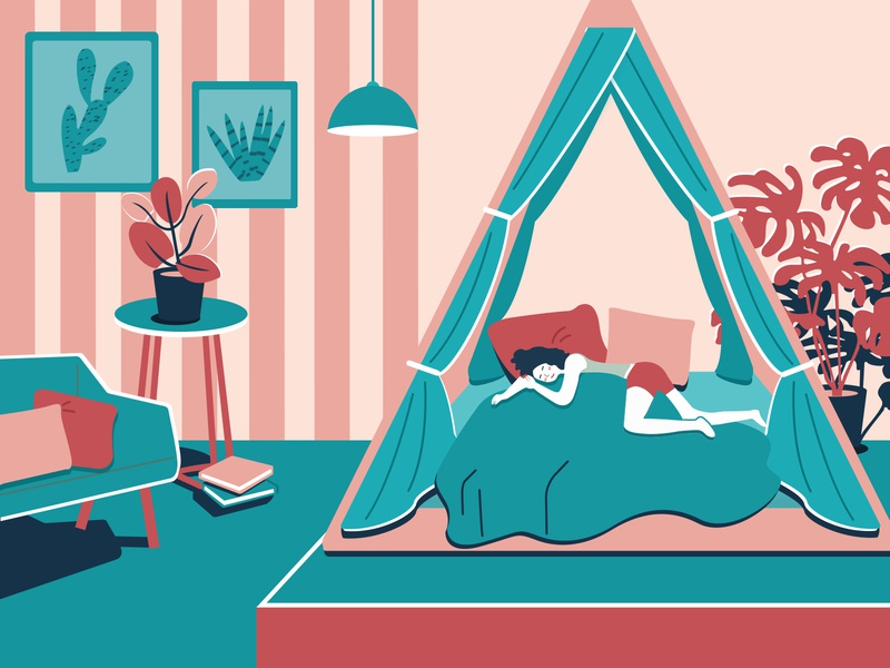 Sleeping girl sweet sofa sleep bed household illustration
