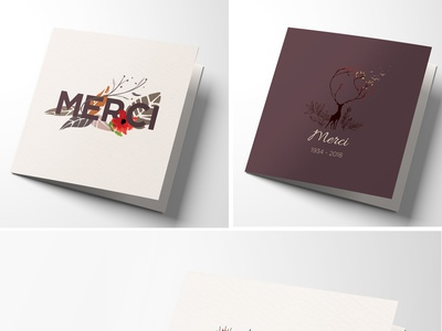 Cartes de remerciement illustration typography design branding