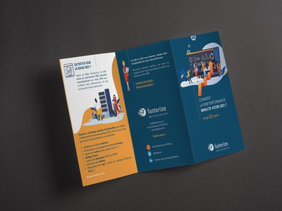 leaflet 3 volets typography vector illustration brochure design design