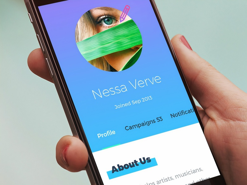Mobile profile page. Crowdfunding website behance usa webdesign typography ui colorful design website responsive website ux responsive pay minimal money international illustration fundraising beauty flat colorful campaigns