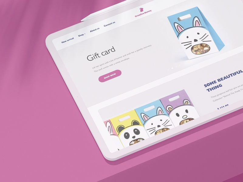 Creative Bunny website arabic typography arabic qatar thing white gift eccomerce shop store pink light creative bunny flat ux minimal responsive website ui