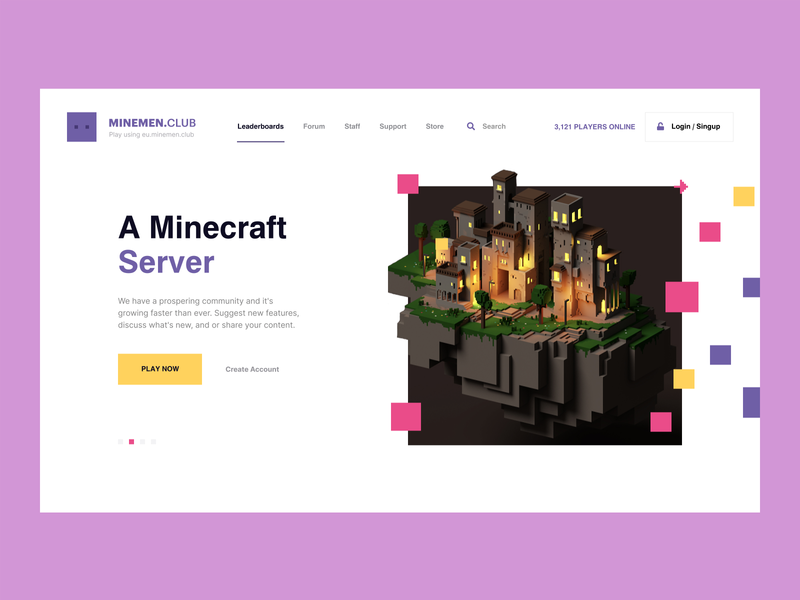 Design for Minemen Club / minemen.club illustration ui website webdesign web players play for player games clubs minemen migration server minecraft game
