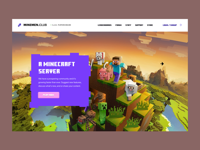 Home page for Minemen Club ip craft mine online forum play now players play game for player minemen clubs game server minecraft club responsive minimal illustration ui website