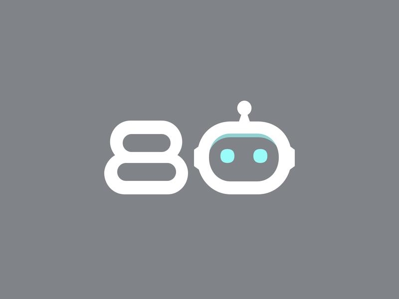 80bots_com logo. Automation platform for the web bot cloud-native open-source robotic platform automation process icon typography vector branding logo design minimal web website ui 80bots