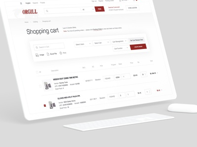 Shopping cart for Orgill website sale services ecommerce retail distribution worldwide whitespace red typography shop store ui web webdesign responsive minimal shopping cart website bag shopping