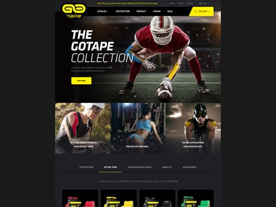 Homepage for Magento GoTape website landing page buy magento 2 elastic tapes muscle kinesiology sports design finest web webdesign minimal ui responsive website homepage shop store ecommerce