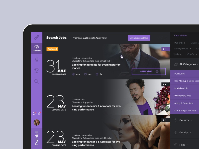Twinkll website dashboard ux ui web responsive dark artist model homepage webdesign social notifications