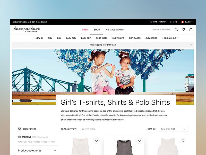 Deuxpardeux website design. Shop Page redesign magento 2 magento desktop catalog store web design fashion kids ecommerce shop web ux ui design