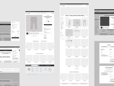 Wireframes for Deuxpardeux website. Website wireframe