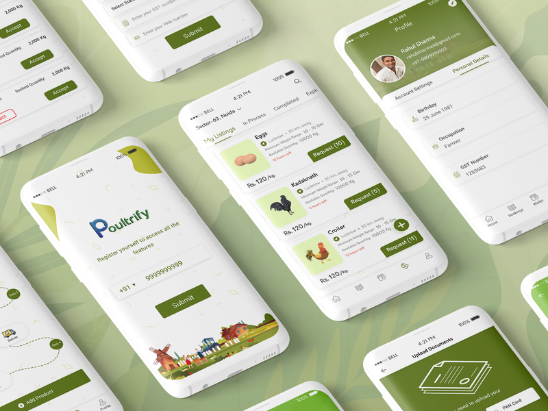 Poultrify-Poultry Trading Business App trading app poultrify ux ui design user interface ui  ux design ui ux mobile app development mobile app ui ux design app design