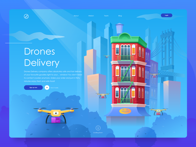 Drones Delivery Hero Image ux new york delivery userinterface vector branding webdesign graphicdesign illustration flat ui
