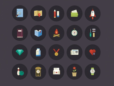 Vector icon set icons flat design set photoshop ios illustrator android app