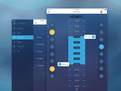 Sea Schedule dashboard studio charts schedule interface appdesign icon ios ipad ux ui flat