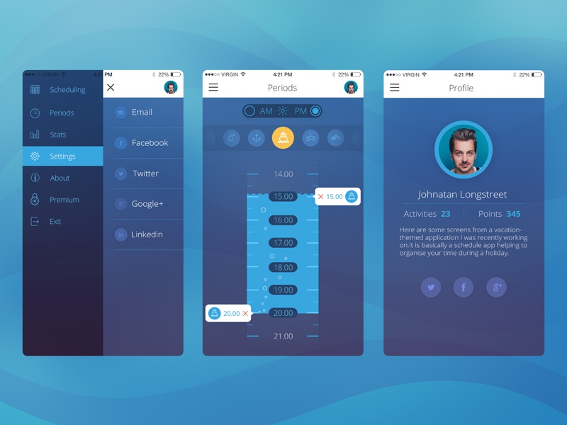 Sea Schedule Mobile profile control charts studio schedule icons interface appdesign flat ux ui ios