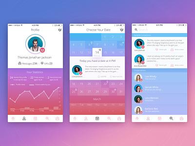 Valentine's Day Icons Presentation studio icons set colours iphone app schedule calendar appdesign ios ux ui