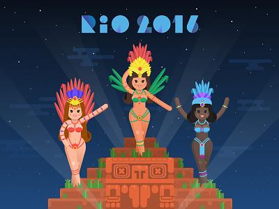 Rio Carnival Illustration ux carnival vector ui userinterface rio2016 interface illustration graphicdesign flat colors brazil