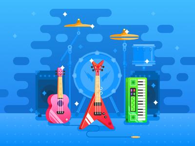 Media App Illustration service music icon web ios flat ux app vector ui design illustration