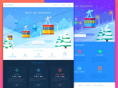 Ski Resorts Landing illustration service webdesign icons vector flat graphicdesign userinterface design ux ui landing