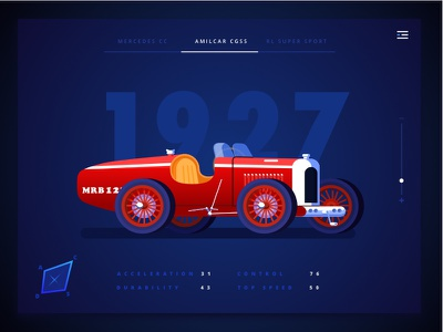 Retro Car Illustration flatdesign racing flat webdesign vector ux userinterface ui illustration graphicdesign retrocar design