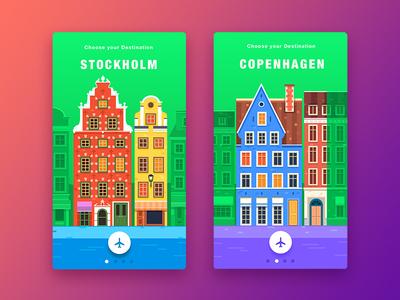 Travel App Concept flatdesign europe flat appdesign vector ux userinterface ui illustration graphicdesign travel design