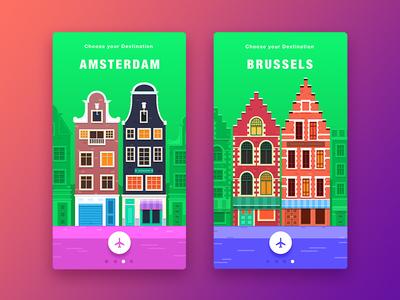 Travel App Concept userinterface icons service europe travel media flat ux vector ui illustration appdesign