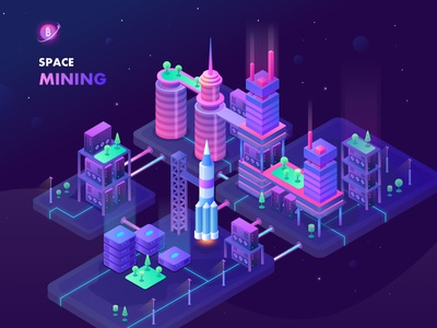 Space Mining design space vector ux ui service mining bitcoin illustration icons isometric webdesign