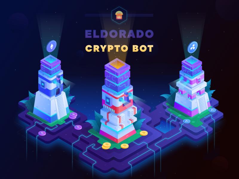 Eldorado Crypto Bot isometric illustration isometry design bitcoin services mining bitcoin cryptocurrency crypto web webdesign appdesign graphicdesign logo vector illustration ux ui