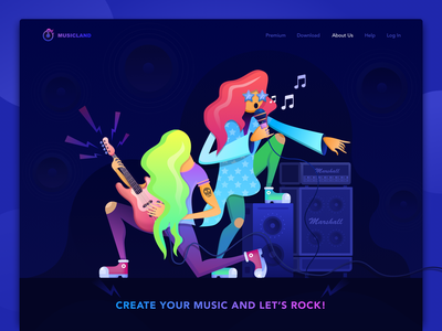 Music App Illustration logo userinterface webdesign web graphicdesign vector illustration flat ux ui