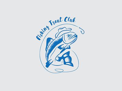 Fishing Trout Club Logo graphic design illustration branding logotype simple logo design vector vintages logo trout fishing fishing trout club logo