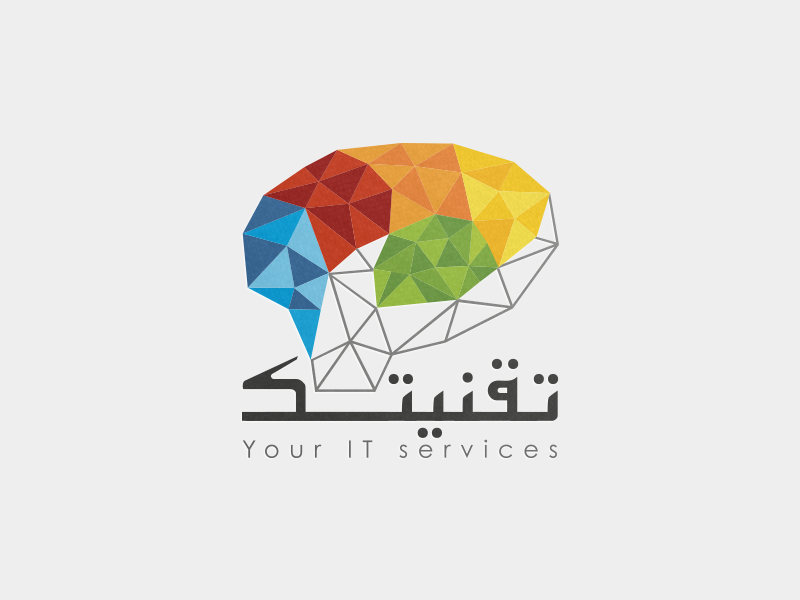 Low poly creative Logo brain low poly triangulation hand arabic type services branding