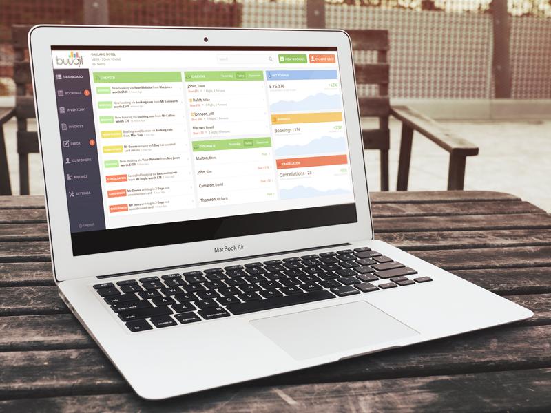 Buuqit - Hotel management system dashboard saas webapp flat application ui listing