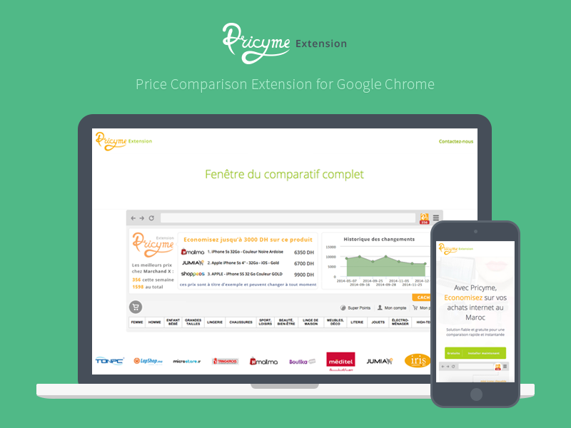Pricyme Extension Landing Page bootstrap frontend conversion green orange extension chrome comparison pricing webdesign website landing