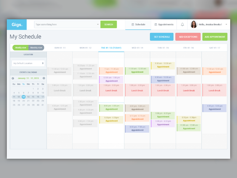 Design Calendar Using Javascript : Gigs schedule manager ui by younes hadry dribbble