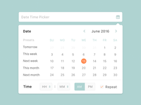 Date Time Picker UI sketch green orange ux ui picker time date