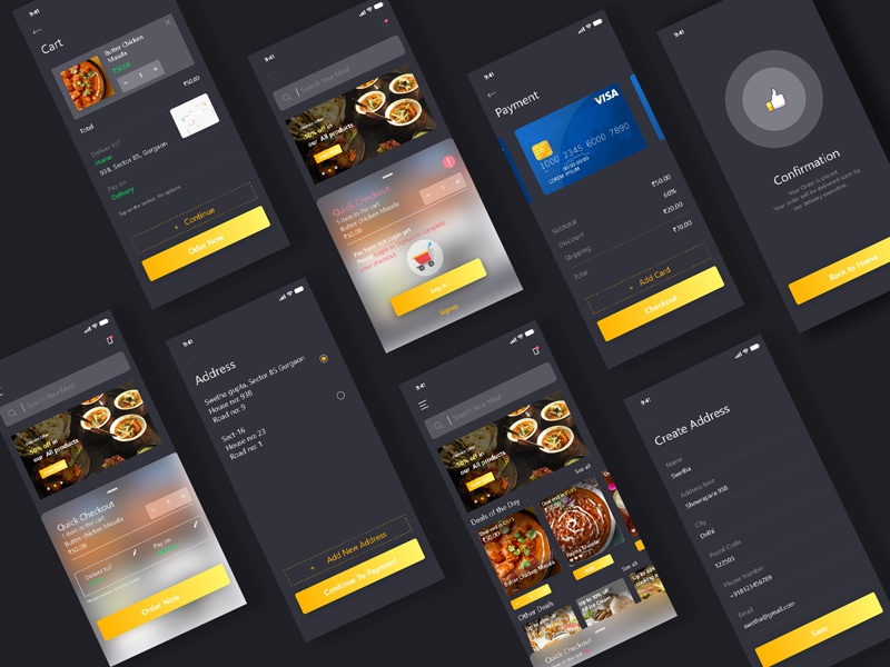 Food App design app ui user interface design charu jain user experience app design food dark mode visual design ux ui