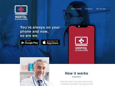 Landing Page for Hospital Mobile Application app web ux branding ui design
