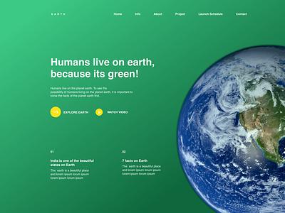 The Earth earthday web design ui