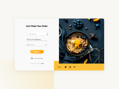 Registration Page authorization minimal landing page account login form input field colorful dribbble invitation invite form register input sign up sign in web app design web food and drink ui home page design