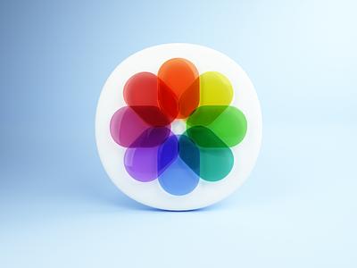 iOS14 photos icon in 3D skeumorphism skeumorphic neumorphism neumorphic logo iphone ios14 icons big sur apple app icon ios photos cinema 4d c4d 3d