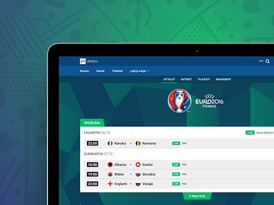 UEFA EURO 2016 - Yle Sports sports website ui
