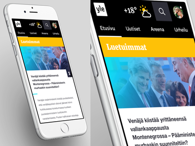 Yle - Most Read news article responsive mobile ui