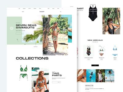 SS_1208_Swim Suits minimal landing page clean fashion swim suits web design design ecommerce ux ui