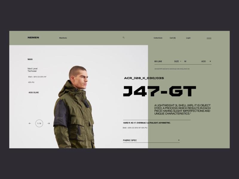 NN 1334 07 - Teach Wear outdoor military minimal typography teach wear fashion ecommerce clean landing page ux ui