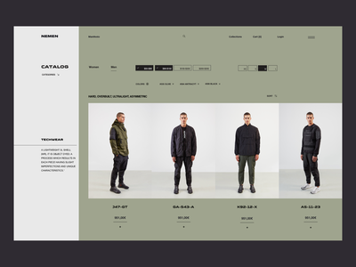 NN 1937 07 - Catalog - Teach Wear outdoor web ecommerce design ecommerce shop military tech wear fashion ecommerce ui ux minimal